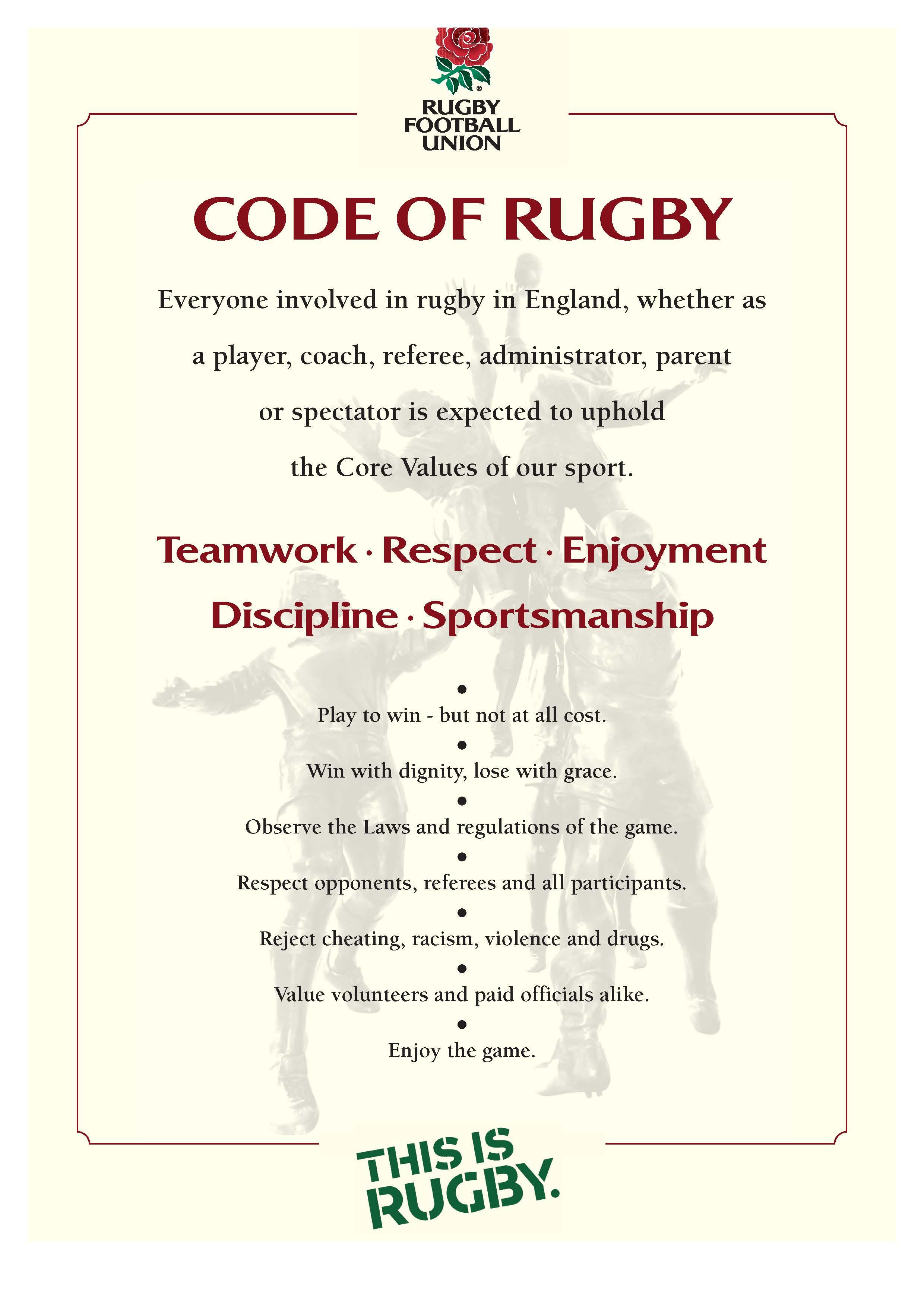 Resultado de imagen de rugby core values