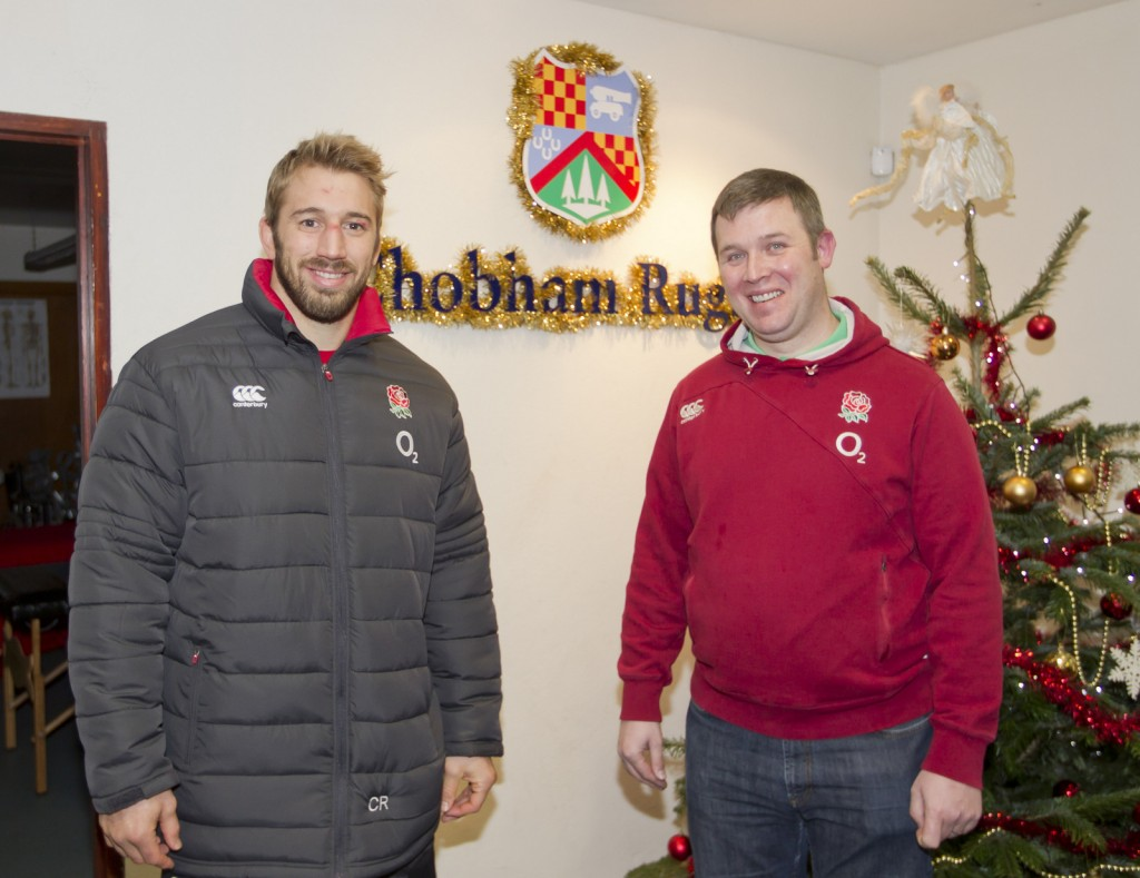Chris Robshaw and Neil Parsley carry out a training session with Chobham Rugby Football Club Seniors.