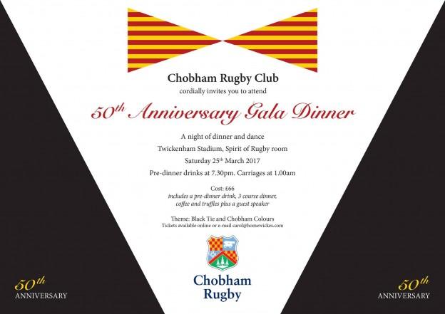 Chobham Rugby 50th Anniversary Gala Dinner Saturday 25th March